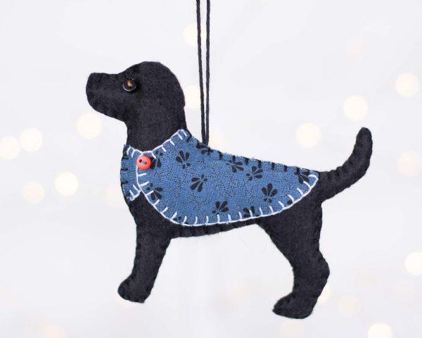 Bertie the Labrador Felt Ornament - black lights