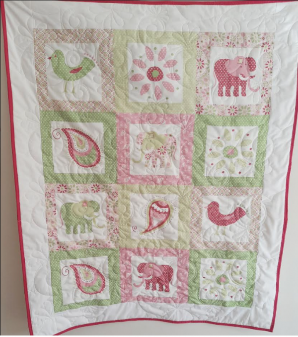 Pretty Pink Elephants Baby Quilt