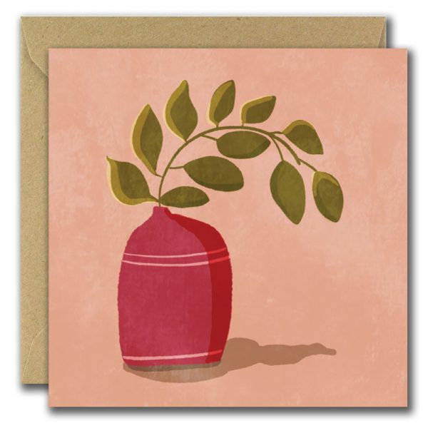 Set of 3 Graphic Floral Illustrated Blank Greeting Cards - raspberry vase