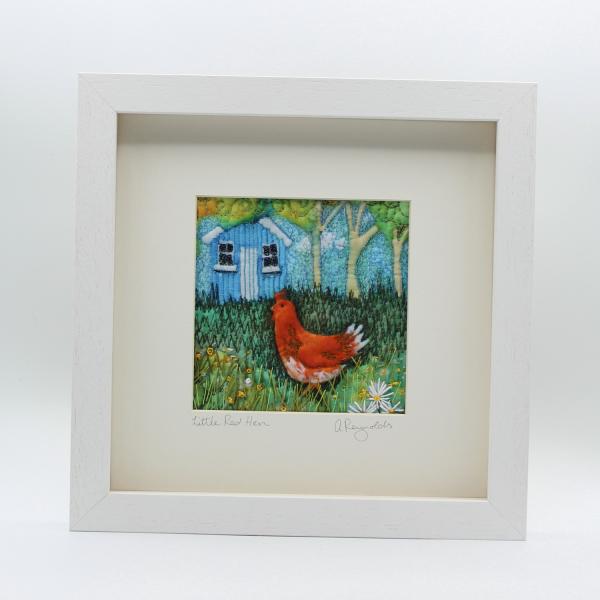 Red Hen Original Hand Stitched Art