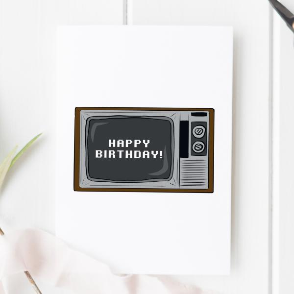 TV Happy Birthday Card - tv birthday 2