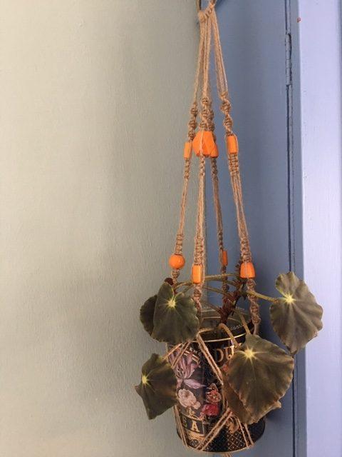 Twine Macrame Plant Hangers with Coloured Beads - twine orange rotated