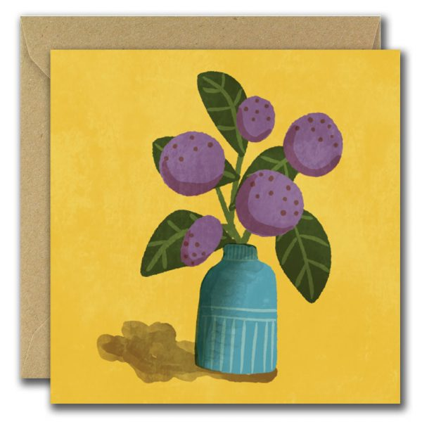 Set of 3 Graphic Floral Illustrated Blank Greeting Cards - yellow ball blooms