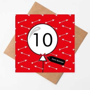 10th Birthday Card Arrow