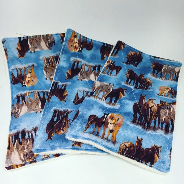 Reusable Wipes Large Horse ( blue)