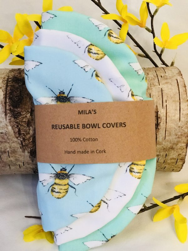 Mila's Reusable Bowl Covers set of 3 -Bees mint/Bees white/Bees sky blue - 131AD003 FDB1 4E82 BC26 D1E4770C620C