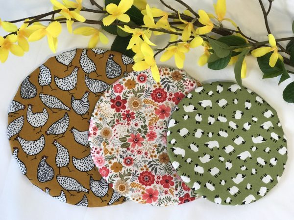 Mila's Reusable Bowl Covers set of 3 -Chickens/Floral/Sheep - 13428B80 3FC1 495F BC3F D0A2E4391D30
