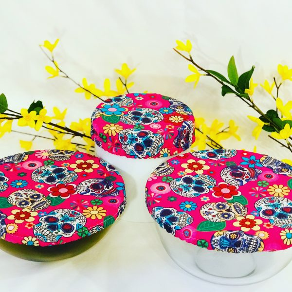 Mila's Reusable Bowl Covers set of 3 -Candy skulls cerise