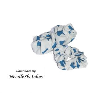 Girls blue and white scrunchie