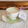Vintage Bone China Cup & Saucer Soy Candle Green Detail