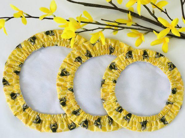Mila's Reusable Bowl Covers set of 3 -Bees yellow - 244AE55F F0AE 4EB3 A804 9947869E8EC3