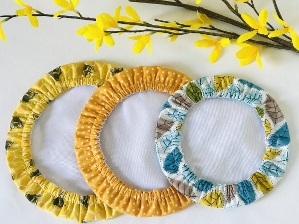Mila's Reusable Bowl Covers set of 3 -Bees yellow/Yellow dot/Spring leaves - 4C00F715 D2B2 4A58 8EF3 2FB60F0EE4A0