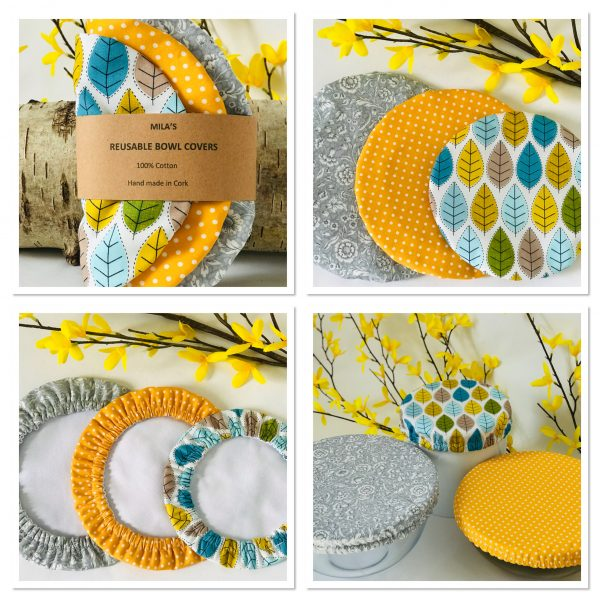 Mila's Reusable Bowl Covers set of 3 -Bees yellow/Yellow dot/Spring leaves - 4E5A2EA4 2645 43C3 944B B96756896AC5