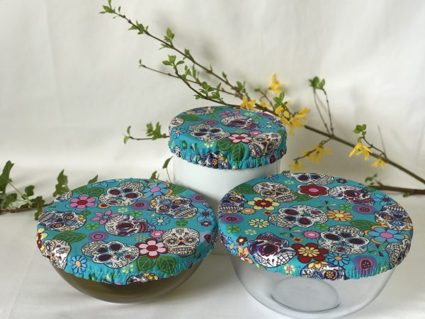 Mila's Reusable Bowl Covers set of 3 -Candy skulls turquoise