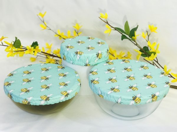 Mila's Reusable Bowl Covers set of 3 - Bees Mint