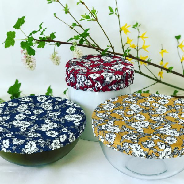 Mila's Reusable Bowl Covers set of 3 -Floral navy, Ochre, Burgundy