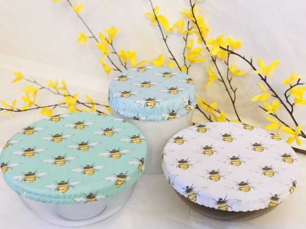Mila's Reusable Bowl Covers set of 3 -Bees mint/Bees white/Bees sky blue