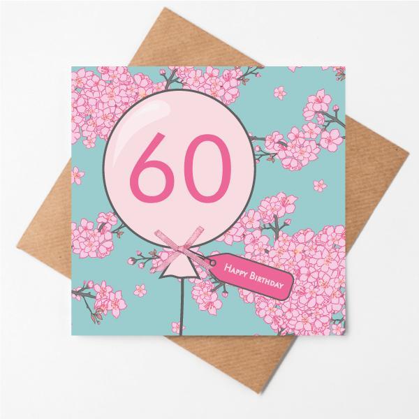 60th Cherry Blossom Birthday Card