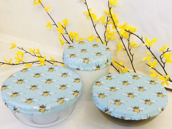 Mila's Reusable Bowl Covers set of 3 - Bees Sky Blue