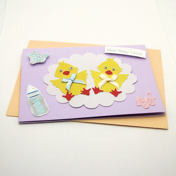 Handmade 'Baby twins' Card - 744 - 744a
