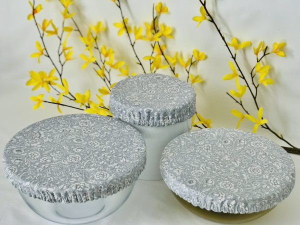 Mila's Reusable Bowl Covers set of 3 -Floral grey/Yellow dots/Pink dots