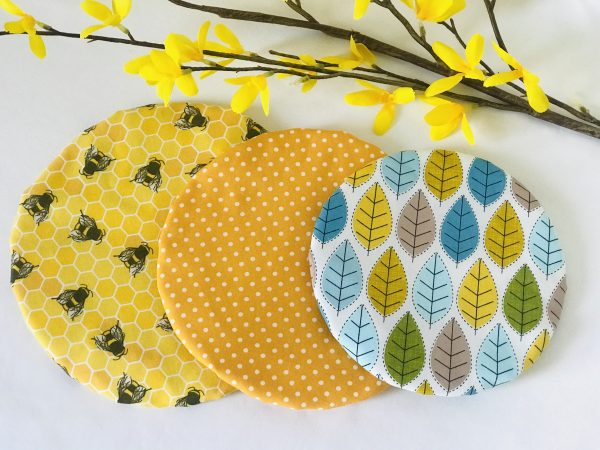 Mila's Reusable Bowl Covers set of 3 -Bees yellow/Yellow dot/Spring leaves - 97EFE0E5 2E4C 4F53 949D C2A5BDBCBE40