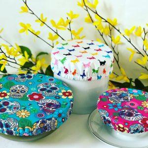 Mila's Reusable Bowl Covers set of 3 -Sugar skulls turq/Rainbow cats/Sugar skulls cerise