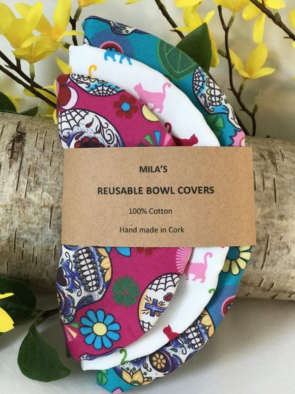Mila's Reusable Bowl Covers set of 3 -Sugar skulls turq/Rainbow cats/Sugar skulls cerise - A78A4917 959F 40D6 9348 0E11C1543B52 rotated