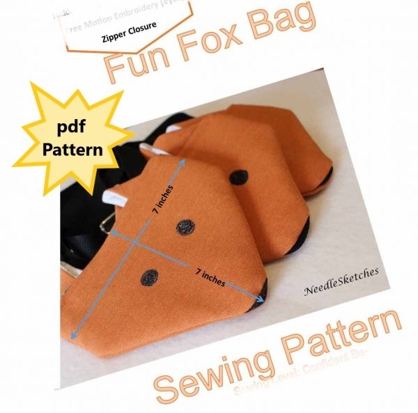 Fun Fox Bag PDF Sewing Pattern (measurement in Inches) - An imperial image of the Fun Fox Bag By NeedleSketches for marketstreet