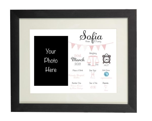 Personalised New Baby Wall Print and Photo Frame - Black frame Pink
