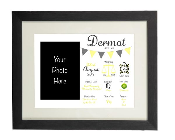 Personalised New Baby Wall Print and Photo Frame - Black frame Yellow