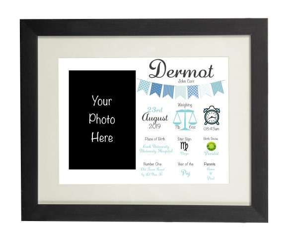 Personalised New Baby Wall Print and Photo Frame - Black frame blue