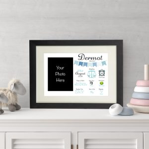 Personalised New Baby Wall Print and Photo Frame