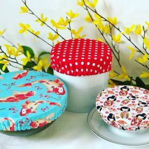 Mila's Reusable Bowl Covers set of 3 -Koi Fish sky blue/Red dot/Geisha