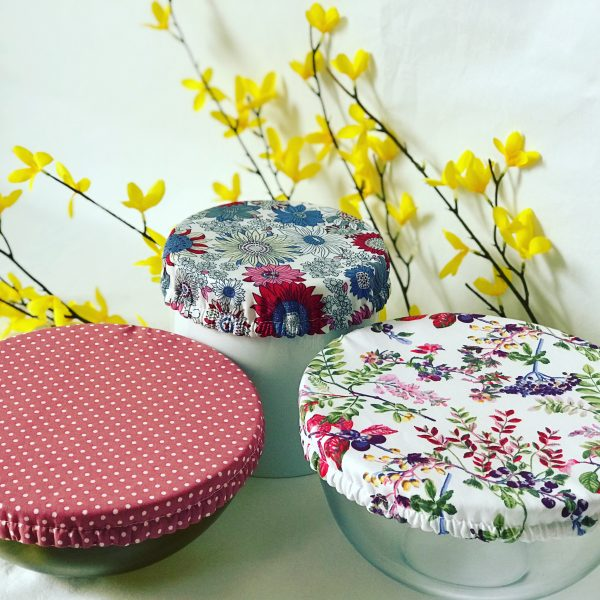 Mila's Reusable Bowl Covers set of 3 -Berries/Dot/Floral blue