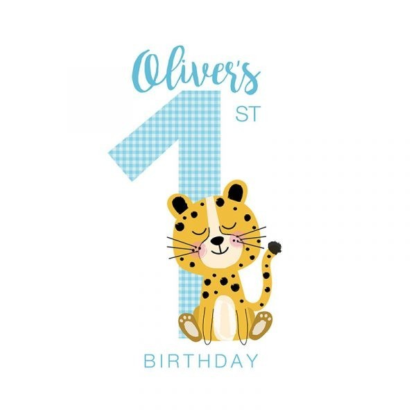 Personalised First Birthday Card - Custom First Bday cheetah blue detail