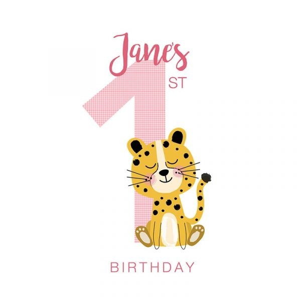 Personalised First Birthday Card - Custom First Bday cheetah pink detail