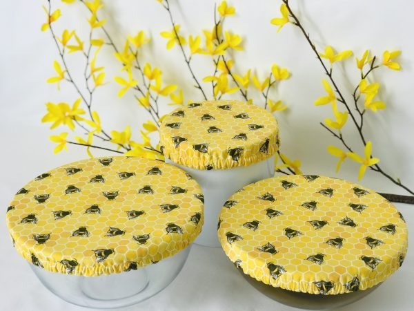 Mila's Reusable Bowl Covers set of 3 -Bees yellow