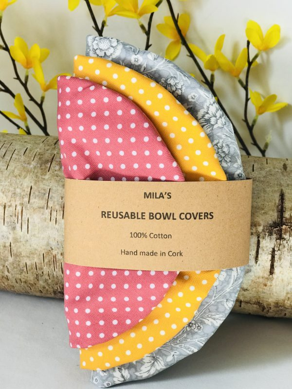 Mila's Reusable Bowl Covers set of 3 -Floral grey/Yellow dots/Pink dots - D23FF1E1 ACF4 4277 A086 71B4819C046A