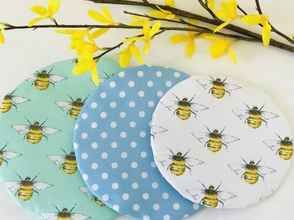 Mila's Reusable Bowl Covers set of 3 -Bees white/Blue dot/Bees mint - D4AC4CD5 D396 4B2A 838A D4EC2E83369D