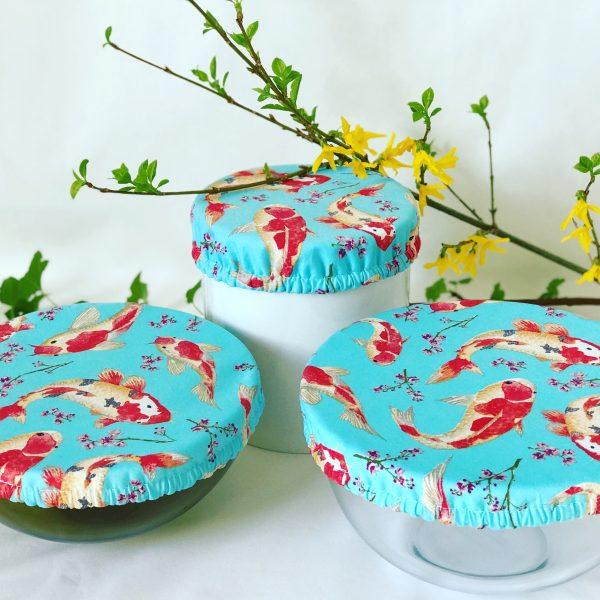 Mila's Reusable Bowl Covers set of 3 -Koi Fish sky blue