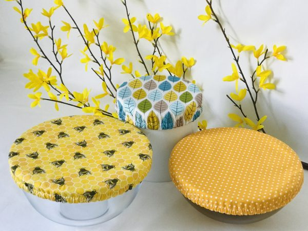 Mila's Reusable Bowl Covers set of 3 -Bees yellow/Yellow dot/Spring leaves