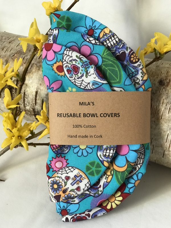 Mila's Reusable Bowl Covers set of 3 -Sugar skulls turquoise - DC89C592 0C8E 4A77 A368 167ACC059D89 rotated