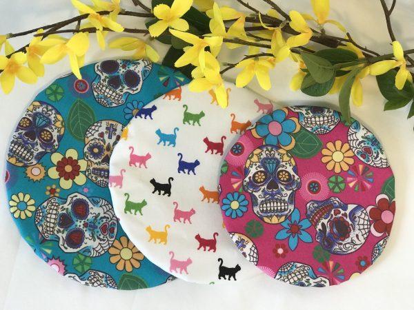 Mila's Reusable Bowl Covers set of 3 -Sugar skulls turq/Rainbow cats/Sugar skulls cerise - F8415580 80D0 4443 A525 B4CA48B60CF2