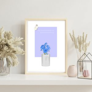 Forget-Me-Not with White Butterfly flying (Periwinkle) Art Print