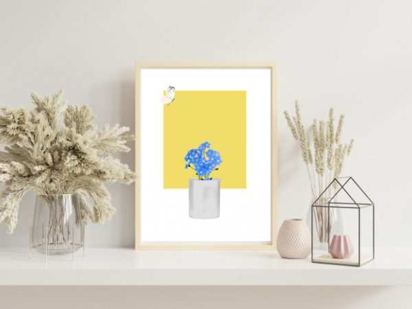 Forget-Me-Not with White Butterfly flying Art Print