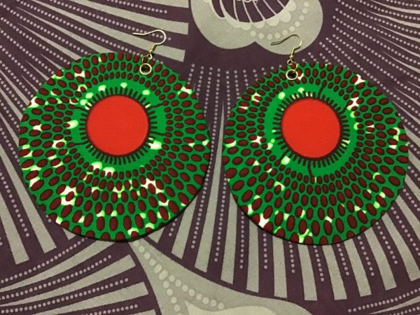 African Print Round Summer Earrings
