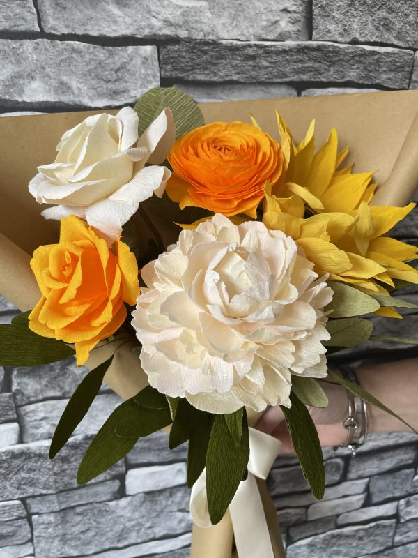 Crepe paper flower bouquet with sunflower