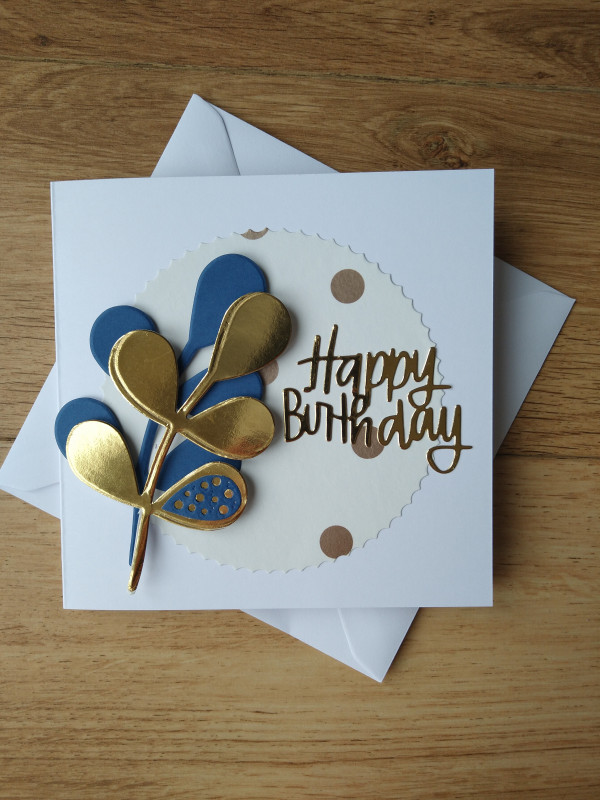 Birthday Card Gold/Blue Leaf and Polka Dots