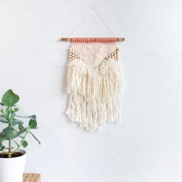 Beaded Scalloped Handwoven Wall Hanging with Beading - IMG 4228